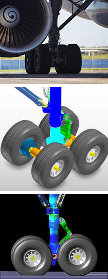 Landing gear simulation result of multibody dynamics software RecurDyn