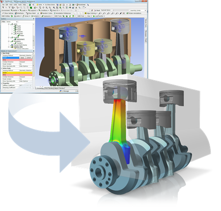 Study of motion in ANSYS using MBD for ANSYS - load calculation