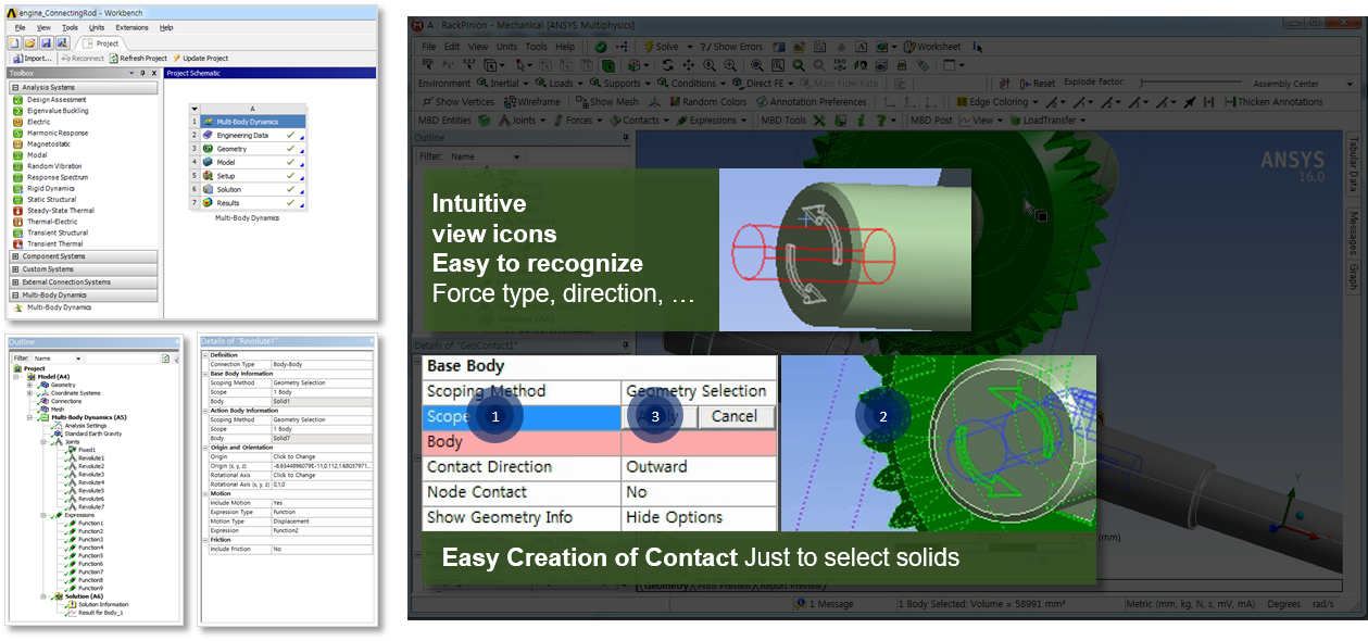 Consistent user interface with ANSYS Workbench - MultiBody Dynamics for ANSYS advantage 1