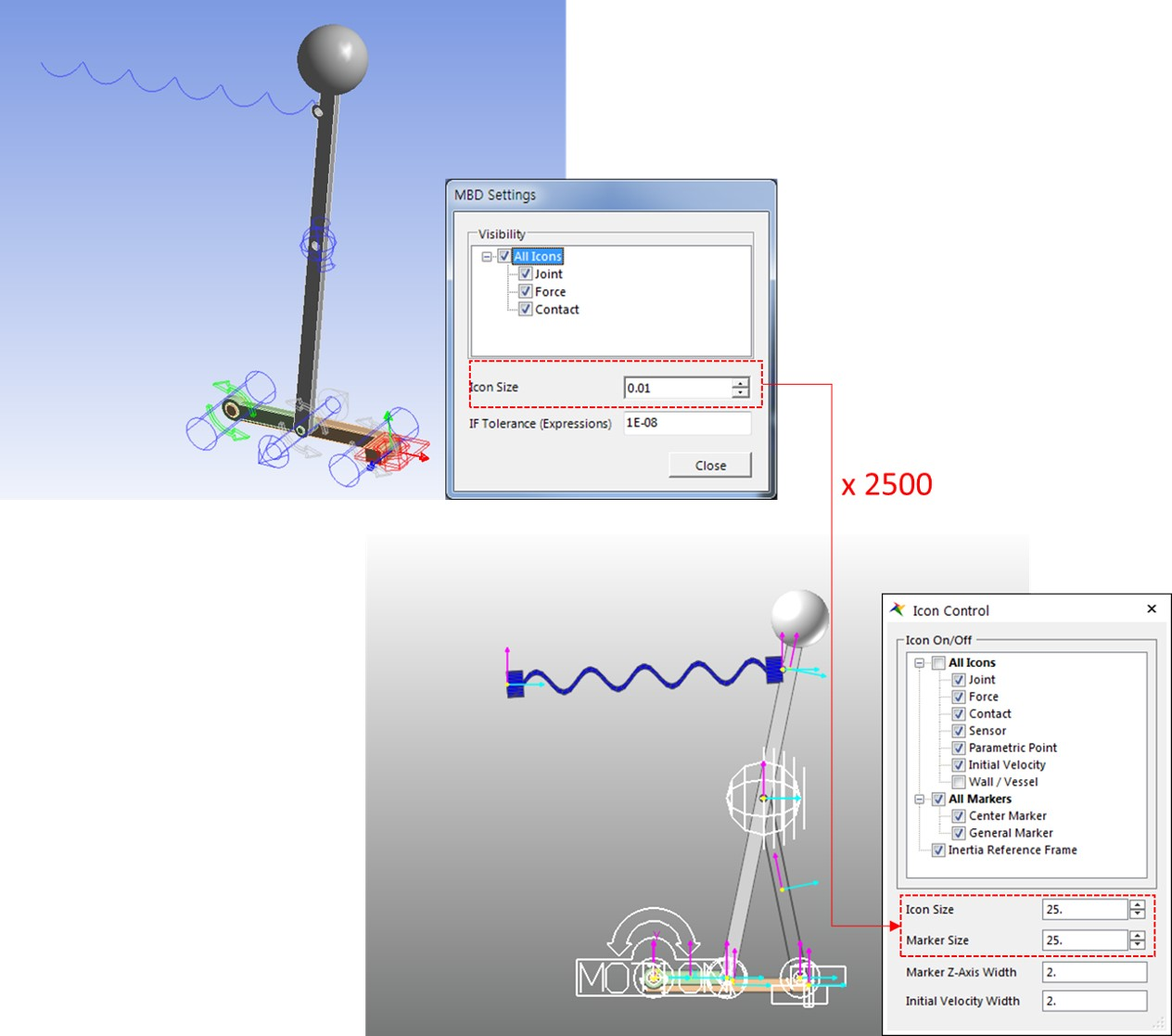 MBD for ANSYS 2019 R3 - motion analysis - Marker and Icon size